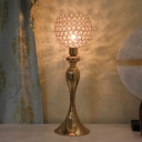 1-Head Crystal Nightstand Light Modernism Gold Globe Bedroom Table Lamp with Urn Metal Base