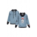 Cartoon Girl Printed Ripped Patchwork Long Sleeve Button down Drawstring Regular Fitted Chic Denim Jacket for Men