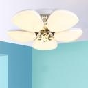 Crystal Detailing Flower LED Flush Light Minimalist White Acrylic Close to Ceiling Lighting Fixture