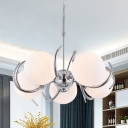 Bubble Opal Matte Glass Chandelier Modernist 5-Head Chrome Pendant Light with Twist Arm