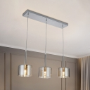 Chrome Cup Cluster Pendant Contemporary 3 Lights Smoke Grey Glass Ceiling Suspension Lamp