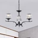 Prismatic Crystal Tapered Chandelier Modernism 3/6 Bulbs Bedroom Hanging Light in Black