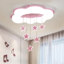 Cloud Child Room Flush Mount Light Acrylic Kids Style LED Ceiling Fixture with Twinkling Star Drape in Pink/Blue