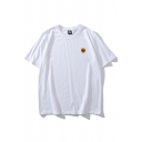 Simple Mens Sunflower Printed Short Sleeve Crew Neck Relaxed Fitted Tee Top
