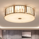 6 Bulbs Flush Mount Ceiling Light Minimalism Tambour Crystal Encrusted Flushmount Lamp in Gold