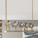5-Head Faceted Cut Crystal Ball Pendant Postmodern Brass Linear Dining Table Island Lamp