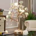 Green Flower Table Lamp Pastoral Ceramic 3 Bulbs Bedroom Night Light with Crystal Accent