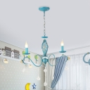 Blue Candle Chandelier Lamp Korean Garden Iron 3/5/8 Lights Dining Room Pendant with Crystal Drop