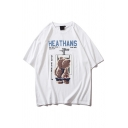 Popular Letter Heathans Bear Graphic Short Sleeve Crew Neck Loose Fit T Shirt for Guys