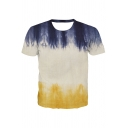 Mens Trendy Colorblock Short Sleeve Crew Neck Relaxed Fit T Shirt