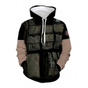 Popular Mens Pockets Contrasted 3D Printed Long Sleeve Drawstring Loose Fit Black Hoodie with Pocket