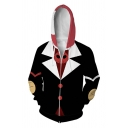 Cool Guys Suit 3D Printed Contrasted Long Sleeve Zipper Front Regular Fitted Hoodie in Black