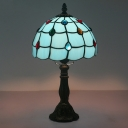Bronze Lattice Bowl Desk Light Baroque 1 Bulb Blue Glass Gem Patterned Nightstand Lamp for Bedroom