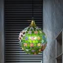 Blue/Red Globe Hanging Ceiling Light Baroque 1 Bulb Cut Glass Suspension Lighting for Living Room