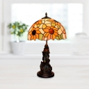 Bronze 1-Head Sunflower Night Table Light Mediterranean Stained Art Glass Domed Desk Lamp with Godness Design