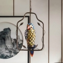 Parrot Ceiling Pendant Lamp Single Yellow Hand-Cut Stained Glass Tiffany Style Suspended Lighting Fixture