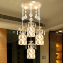 Gold Cylindrical Multi Light Pendant Modernism 4-Light K9 Crystal Down Lighting with Round Canopy