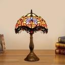 Cut Glass Scalloped Nightstand Lighting Tiffany 1-Light Bronze Night Light for Bedside
