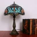 Domed Nightstand Light 1-Light Tiffany Night Lighting in Bronze with Dragonfly Pattern