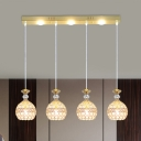 Clear Crystal Orb Cluster Pendant Light Simple 4-Head Hanging Lamp Kit in Gold with Linear Canopy