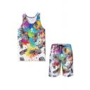 Stylish Allover Pineapple Printed Sleeveless Relaxed Tank & Drawstring Waist Relaxed Shorts Set