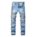 Trendy Mens Stacked Distressed Zipper Pocket Mid Rise Slim Fitted Full Length Jeans