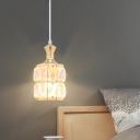 Drum Shade Hanging Light Kit Modern Style Crystal Block 1 Light Gold Drop Pendant for Kitchen