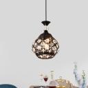 Modernism 1 Light Ceiling Light Black Teardrop Hanging Pendant with K9 Crystal Shade