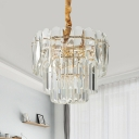 Layered Clear Crystal Pendant Lighting Modern 8 Heads Kitchen Hanging Chandelier