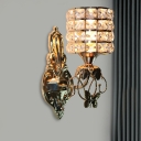 Mug Shaped Beveled Cut Crystal Sconce Traditional 1-Light Living Room Wall Mount Lamp in Gold