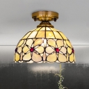 Bowl Shaped Shell Flushmount Lighting Tiffany 1 Head Brass Ceiling Lamp with Flower Pattern