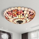 Pink Flower Bowl Flush Mount Light Tiffany 3/4-Light 12/16/21 Inch Wide Shell Ceiling Fixture