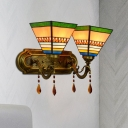 Mission Style Pagoda/Pyramid Wall Light 2 Bulbs Handcrafted Art Glass Wall Mounted Fixture in Brass