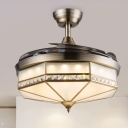 3 Grey Blades Bronze Octagon Semi Flush Modern Opal Glass LED Hanging Fan Lighting, 42.5