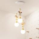 White Unicorn Multi Pendant Kid 3 Heads Resin Hanging Ceiling Light with Ball White Glass Shade