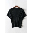 Chic Womens Solid Color Ribbed Batwing Sleeves V-neck Slim Fit Tee Top