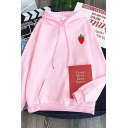 Leisure Womens Strawberry Pattern Long Sleeve Drawstring Relaxed Fitted Hoodie with Pocket