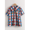 Chic Girls Allover Letter Cartoon Graphic Short Sleeve Point Collar Button down Loose Shirt in Blue