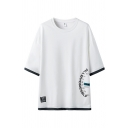 Mens Letter Printed Contrasted 3/4 Sleeves Crew Neck Loose Fit Street Tee Top
