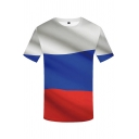 Mens Colorblock Short Sleeve Crew Neck Relaxed Fitted Trendy T Shirt