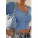 Trendy Womens Plain Button Detail Lettuce Trim Scoop Neck Short Sleeve Slim Fit Cropped T Shirt
