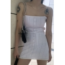 Womens Basic Button Detail Square Collar Mini Slim Fit Slip Dress in White