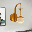 Inverted Goblet LED Wall Hanging Light Postmodern Gold Seedy Crystal Wall Lamp with Curved Arm