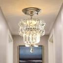 LED Beveled Crystal Semi Flush Minimalist Silver 2-Layer Corridor Flush Mounted Light