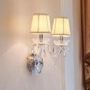 Candelabra Clear Crystal Wall Lighting Traditional 2 Heads Bedroom Wall Mounted Lamp with Gathered Fabric Shade