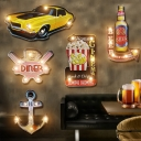 Countryside LED Wall Lighting Black-Red Popcorn/Red-Yellow Beer/Yellow Car Signboard Battery Night Light with Metal Shade