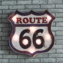 Loft Style Road Sign Iron Wall Lighting Mini Battery LED Sconce Lamp for Wine Bar