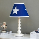Blue Cone Table Lamp Minimalistic 1 Head Fabric Night Stand Light with Gourd Arm
