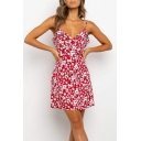 Sexy Girls All over Flower Printed Ruffled Trim Spaghetti Straps Short A-line Cami Dress in Red
