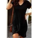 Simple Ladies Solid Color Short Sleeve V-neck Twist Hem Short Shift T-shirt Dress